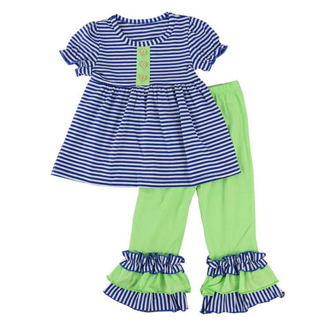 Striped Blue and Lime Two Piece Outfit with Bow