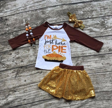 Pumpkin Pie Short Two Piece Set with Headband and Necklace