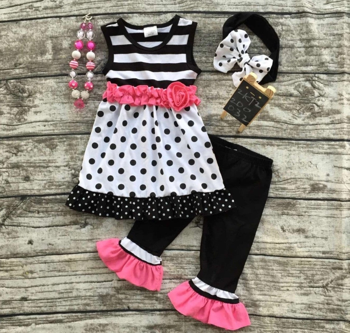 Pink and Black 50's Two Piece Set with Headband and Necklace