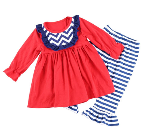 Striped Red and Blue Two Piece Outfit with Bow