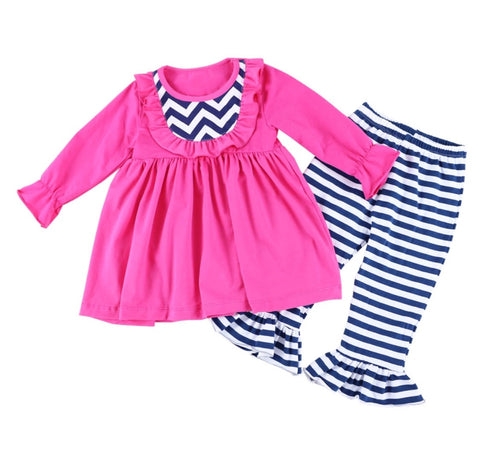 Striped Pink and Navy Two Piece Outfit with Bow