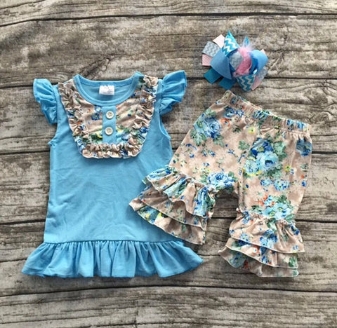 Blue and Gray Floral Short Set with Hair bow