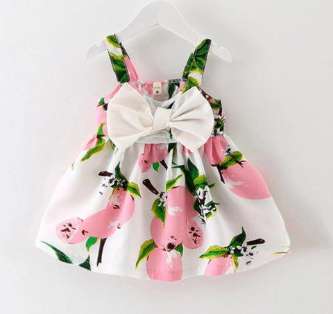 Fruity Pink Fruit Dress with Bow
