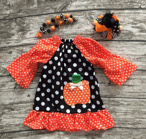 Pumpkin Frock Dress with Headband and Necklace