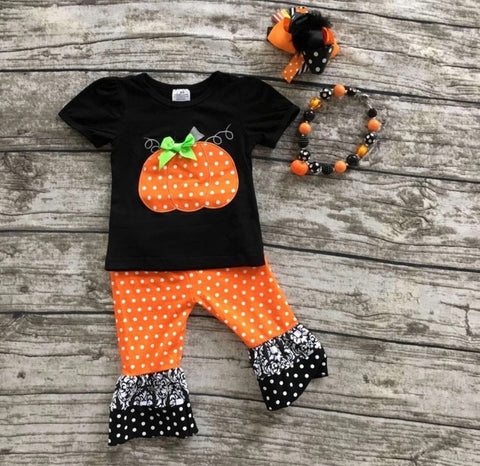 Pumpkin Patch Embroidered Two Piece Set with Bow and Necklace