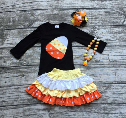 Candy Corn Skirt Set with Bow and Necklace