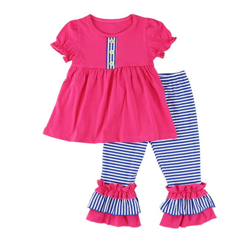 Striped Blue and Pink Two Piece Outfit with Bow