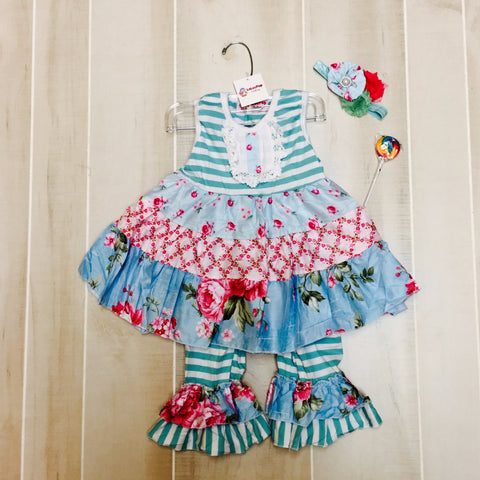 Blue Garden Ruffle Set with Bow