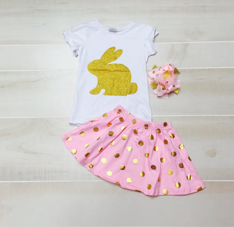 Gold Bunny Skirt Set with Bow