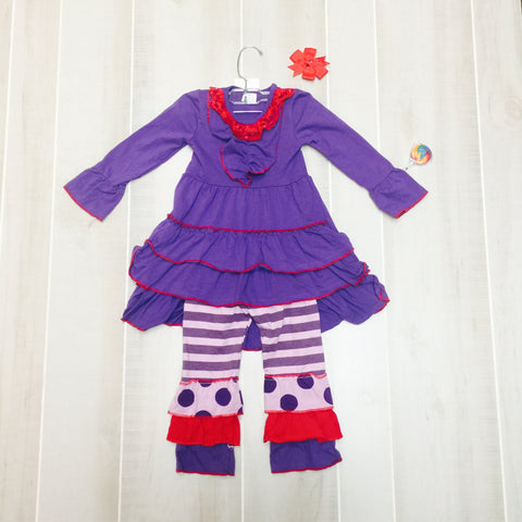 Purple and Red Ruffle Dots Set with Bow