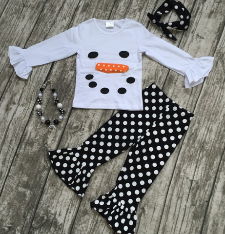 Mr. Snowman Outfit with Headband and Necklace