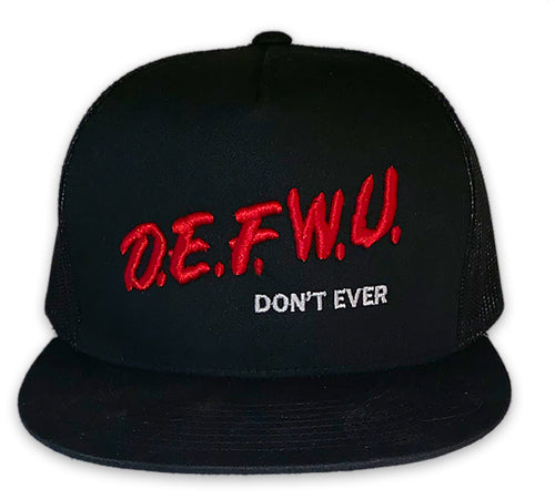 DEFWU DARE Black Flat Bill Trucker Cap