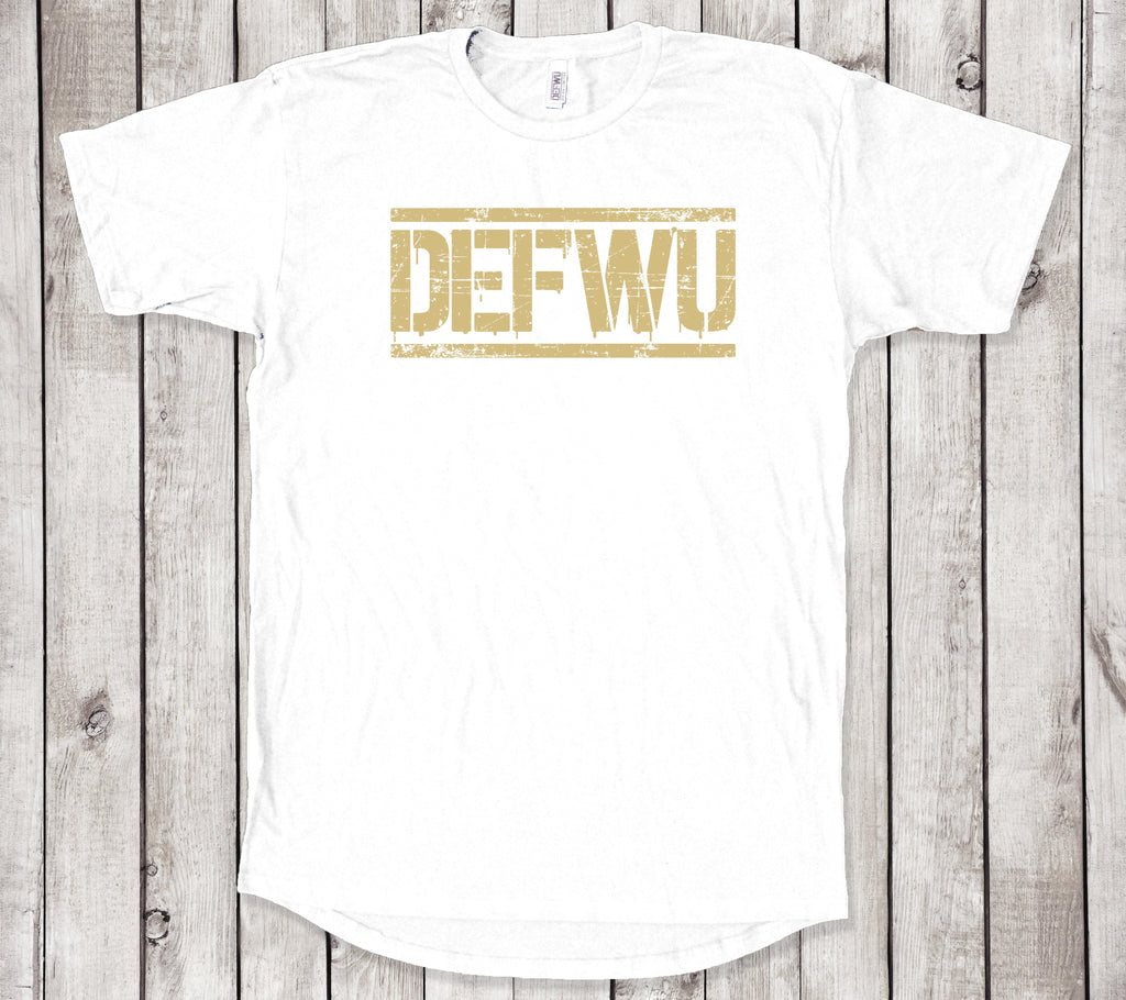 **NEW Men's DEFWU Limited Metallic Gold White T-Shirt (Long Body)