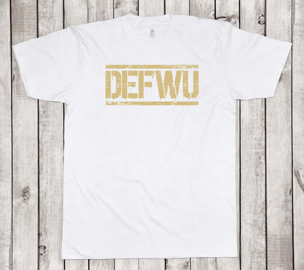 **NEW Men's DEFWU Limited Metallic Gold White T-Shirt (Standard Length)