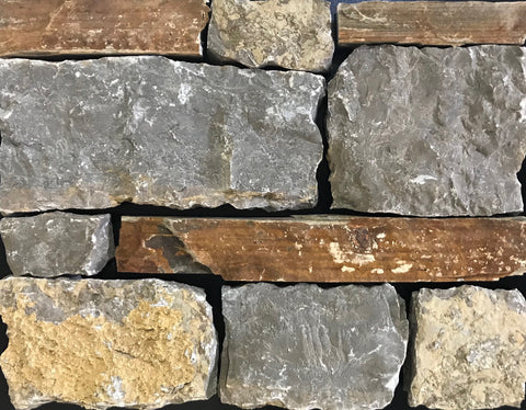 Tennessee Mountain Stone Wolf River Blend Sawn Thin Veneer FREE Shipping - Sold in pallets of 150 Sq. Ft. - $9.89 per Sq. Ft.