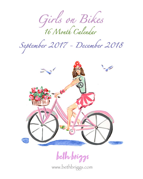 "They'e back! 16 Month ""Girls on Bikes"" Back to School Calendars....."