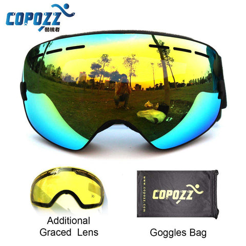 Ski Goggles Double Lens UV400 Anti Fog Unisex With Night Vision Ski Lens