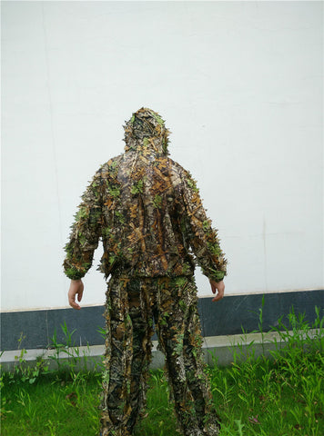 Hunting 3D Maple Leaf Bionic Ghillie Suits Camouflage Clothing Jacket and Pants