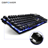 DBPOWER Russian Customized Gaming Keyboard with 3 Colors Backlit Keycaps