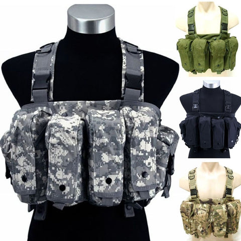 Military Camouflage Tactical Vest Airsoft Ammo Chest Rig Magazine Carrier Combat