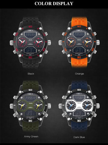 Sports Watches Three Time Display LED Digital Quartz Watch Waterproof Dual Time