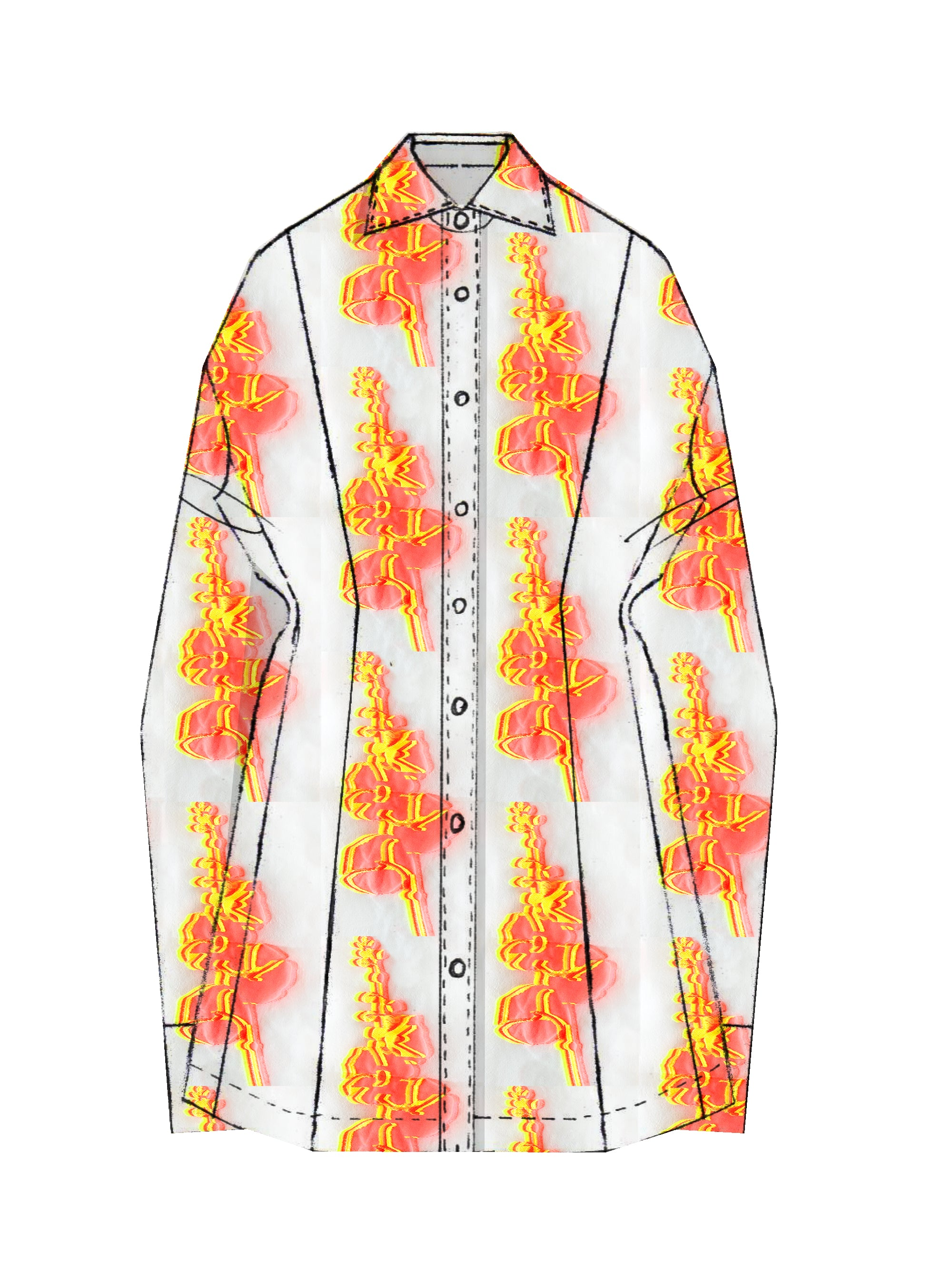 SS21 Neon Holly-Biscus Fil-coupé Slouchy Shirt Dress