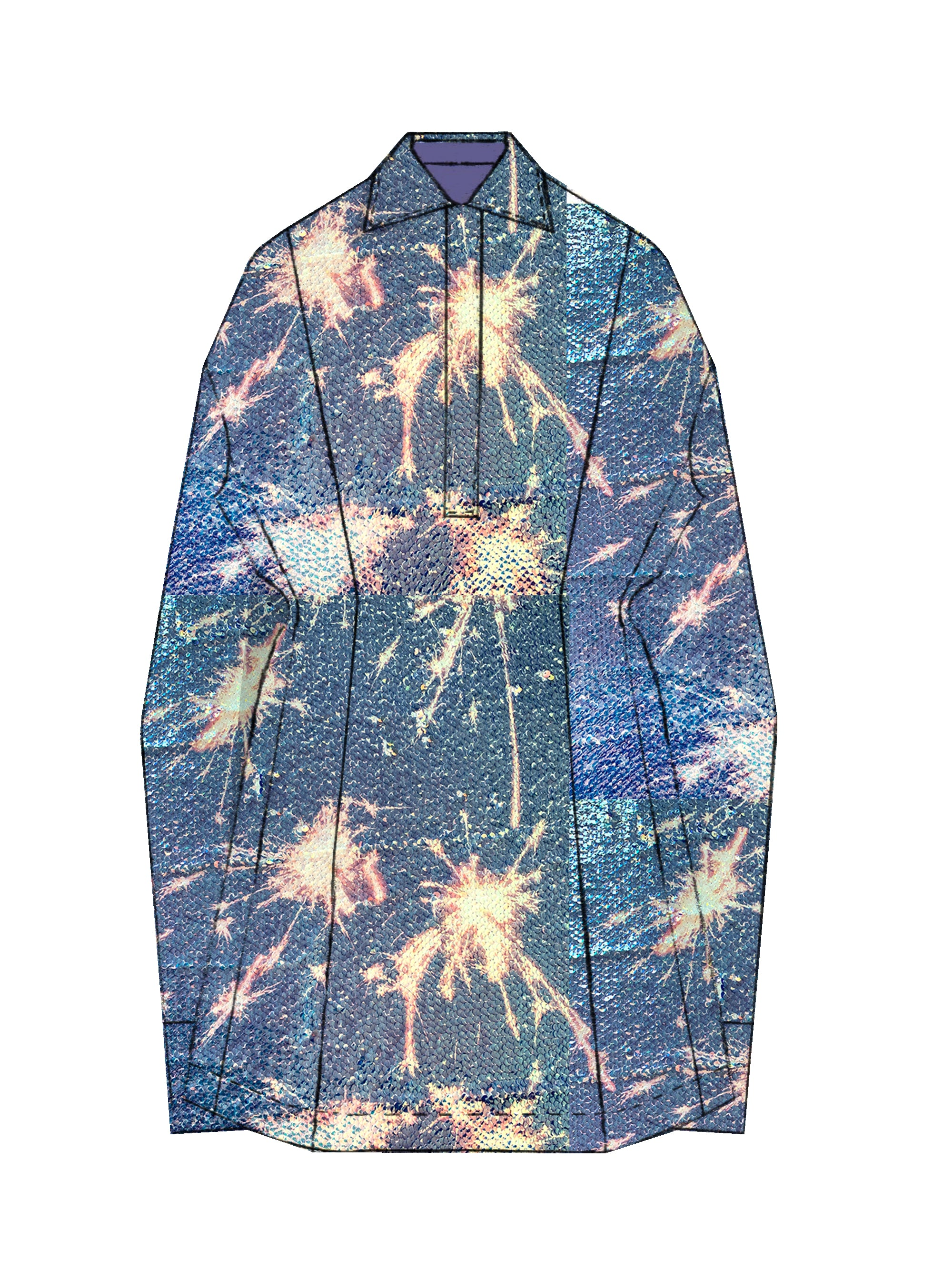 SS21 Printed Sparkler Sequins Slouchy Rugby Dress