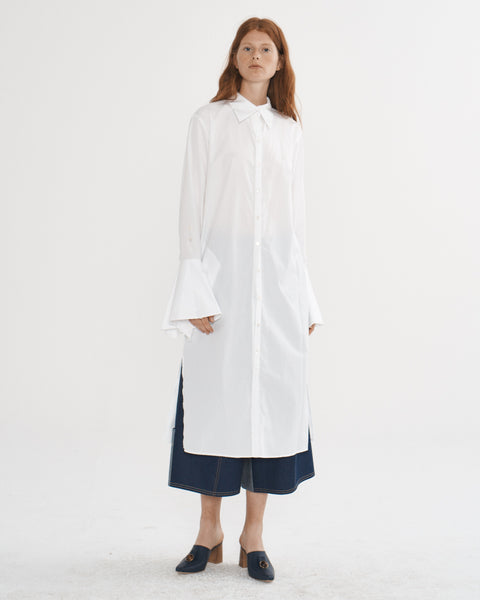 White Poplin Bell Cuff Shirt Dress