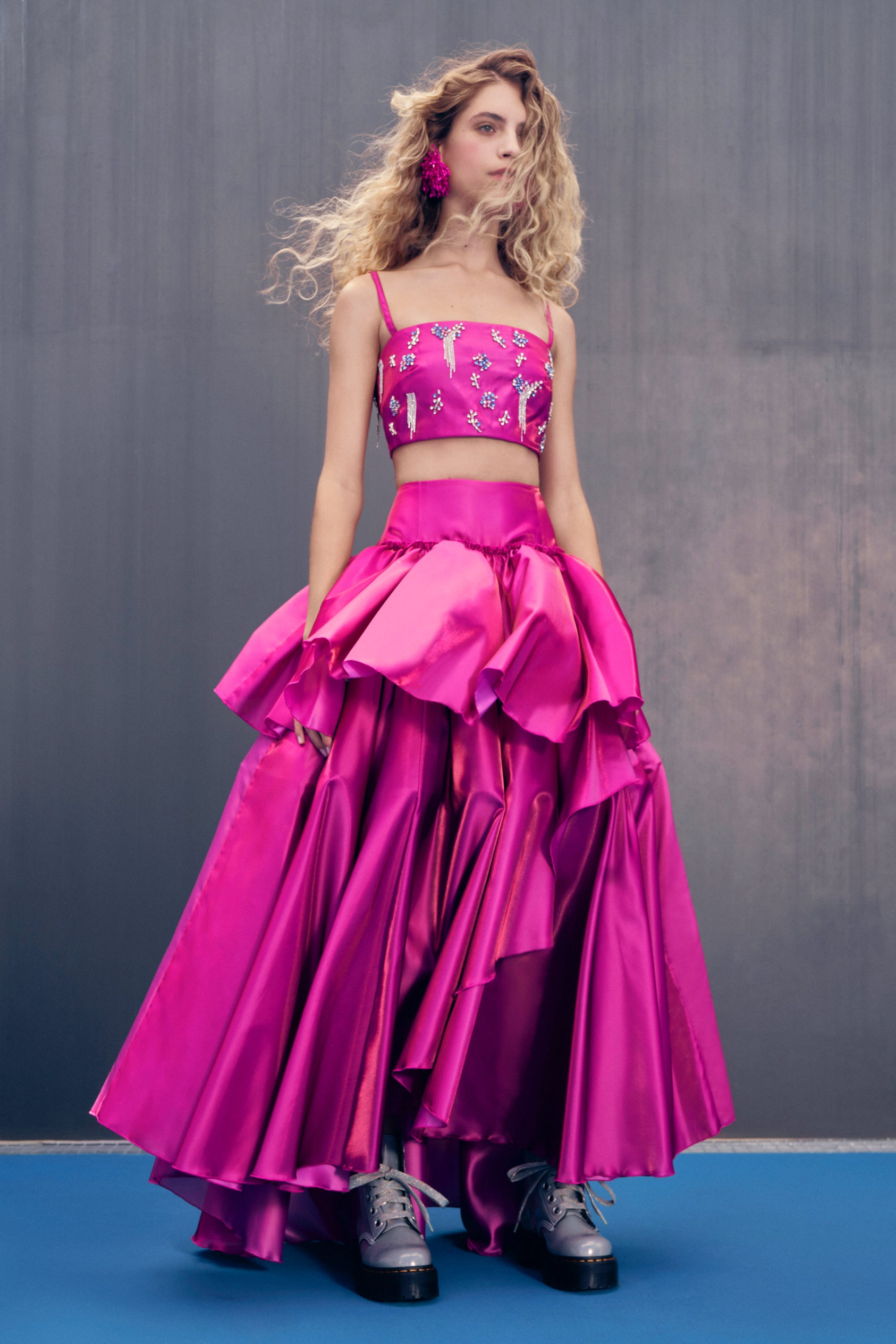 Homecoming Evening Skirt in Raspberry Satin