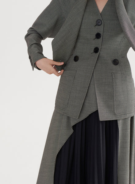 Crossed Shawl Collar Jacket