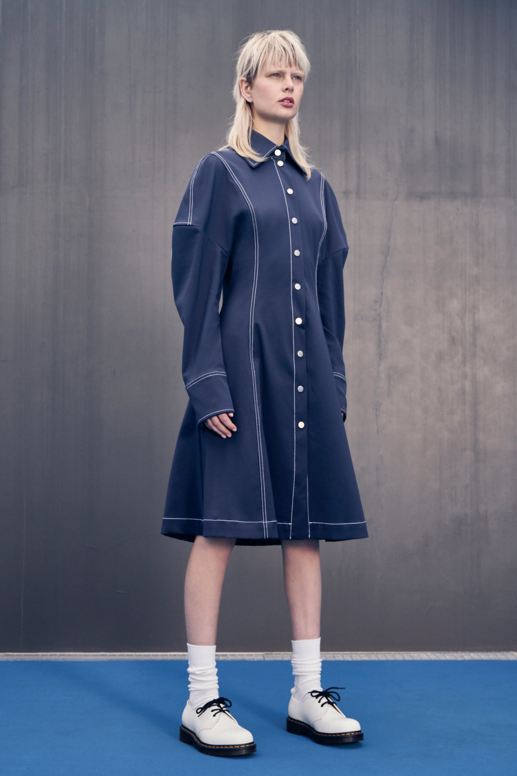 SLOUCHY SHIRT DRESS IN NAVY PONTE