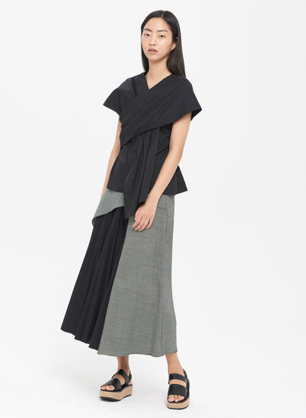 Pleated Panel A-Line Skirt