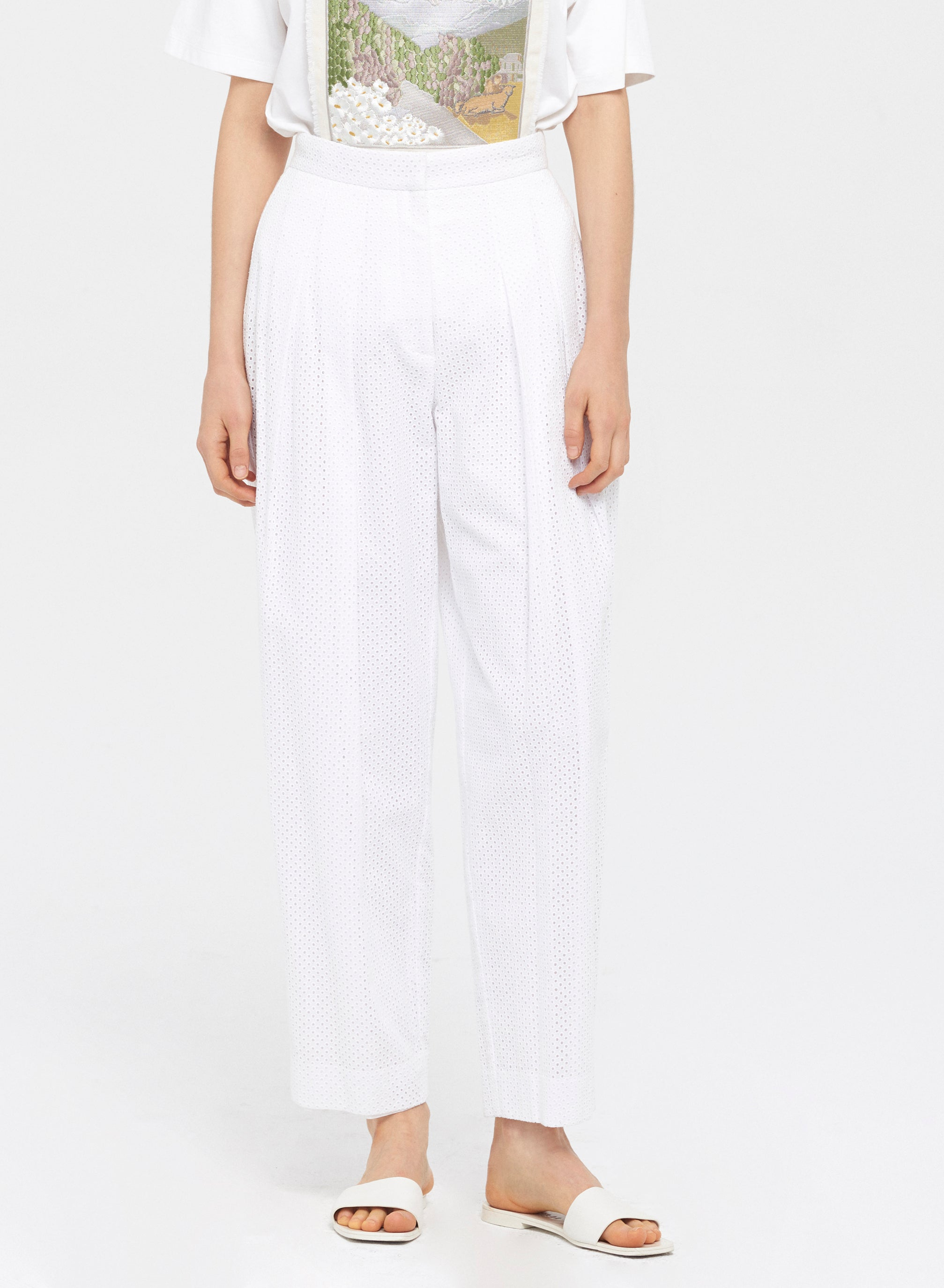 French Eyelet Pleated Pants