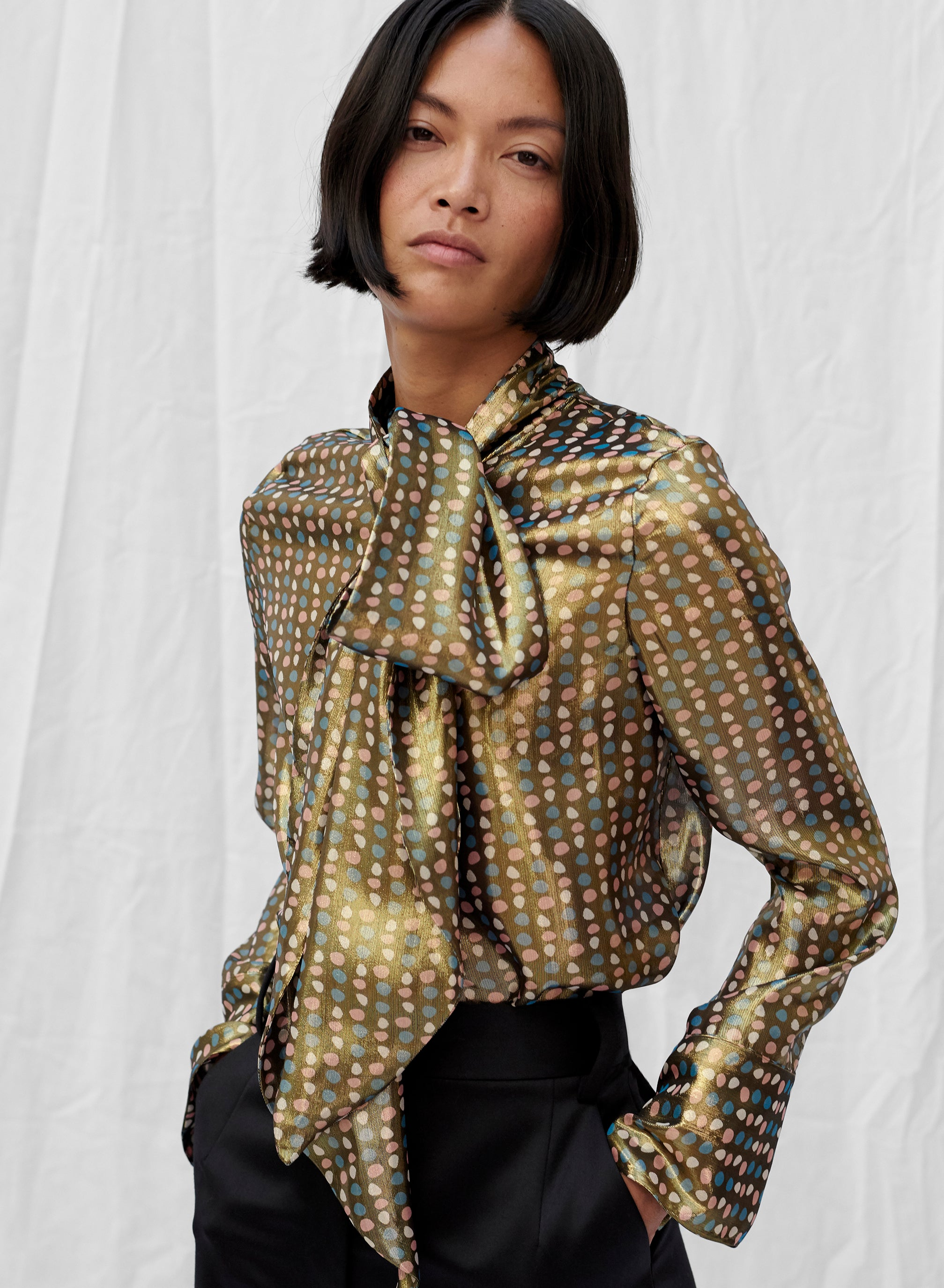 Metallic Mirrorball Bow Blouse