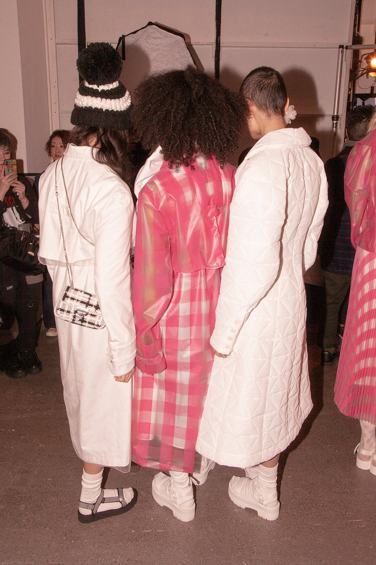 Jelly PU Boxy Long Trench In Hot Pink Plaid