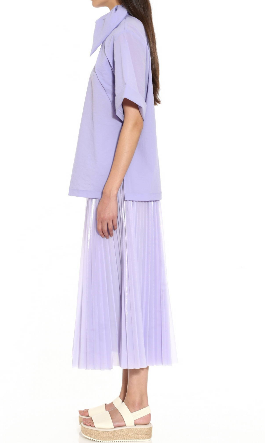 Lavender Coated Mesh Pleated Skirt