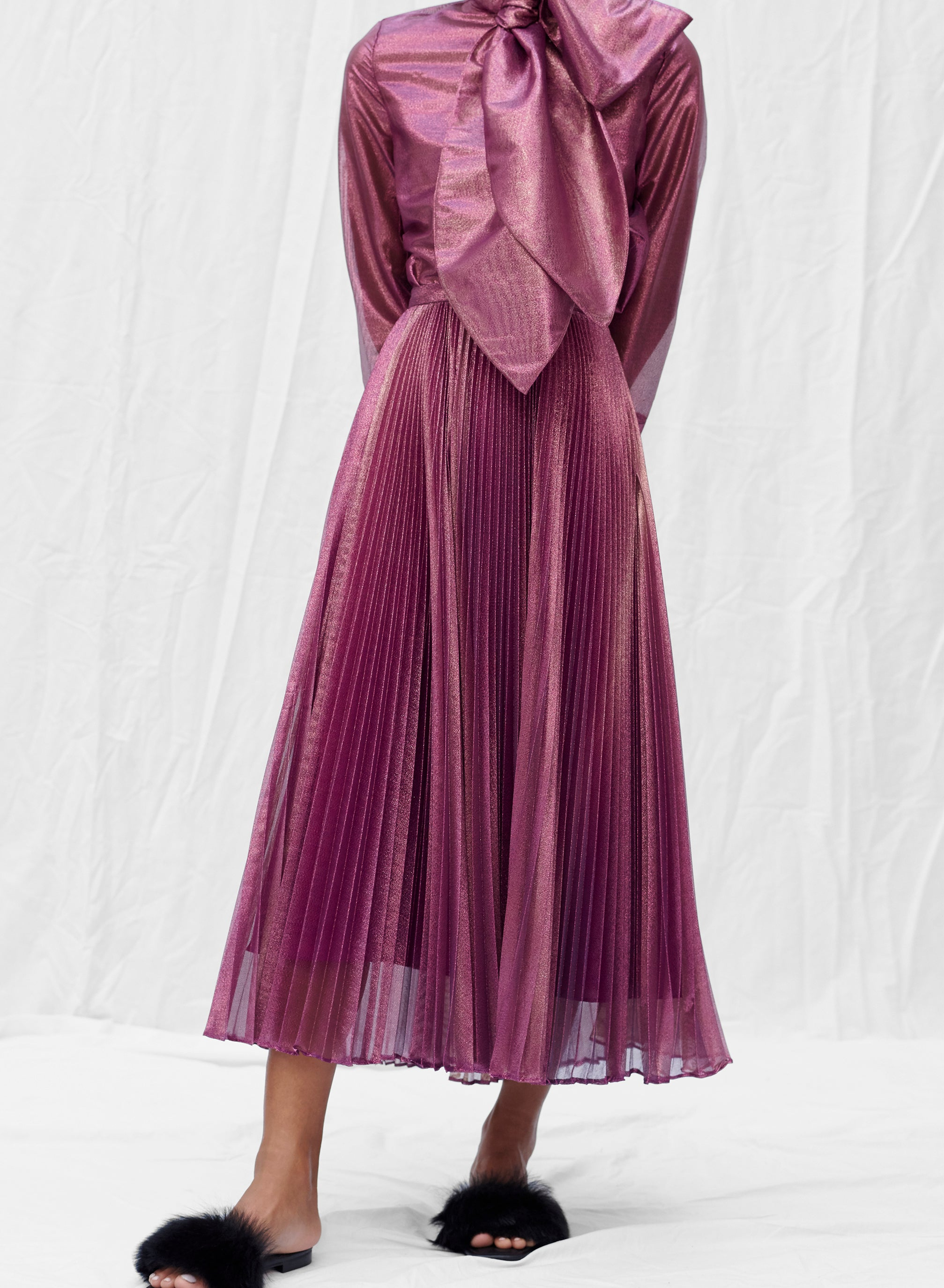 claudia li fall winter 2019 holiday pleated skirt in purple magenta translucent metallic silk lurex voile