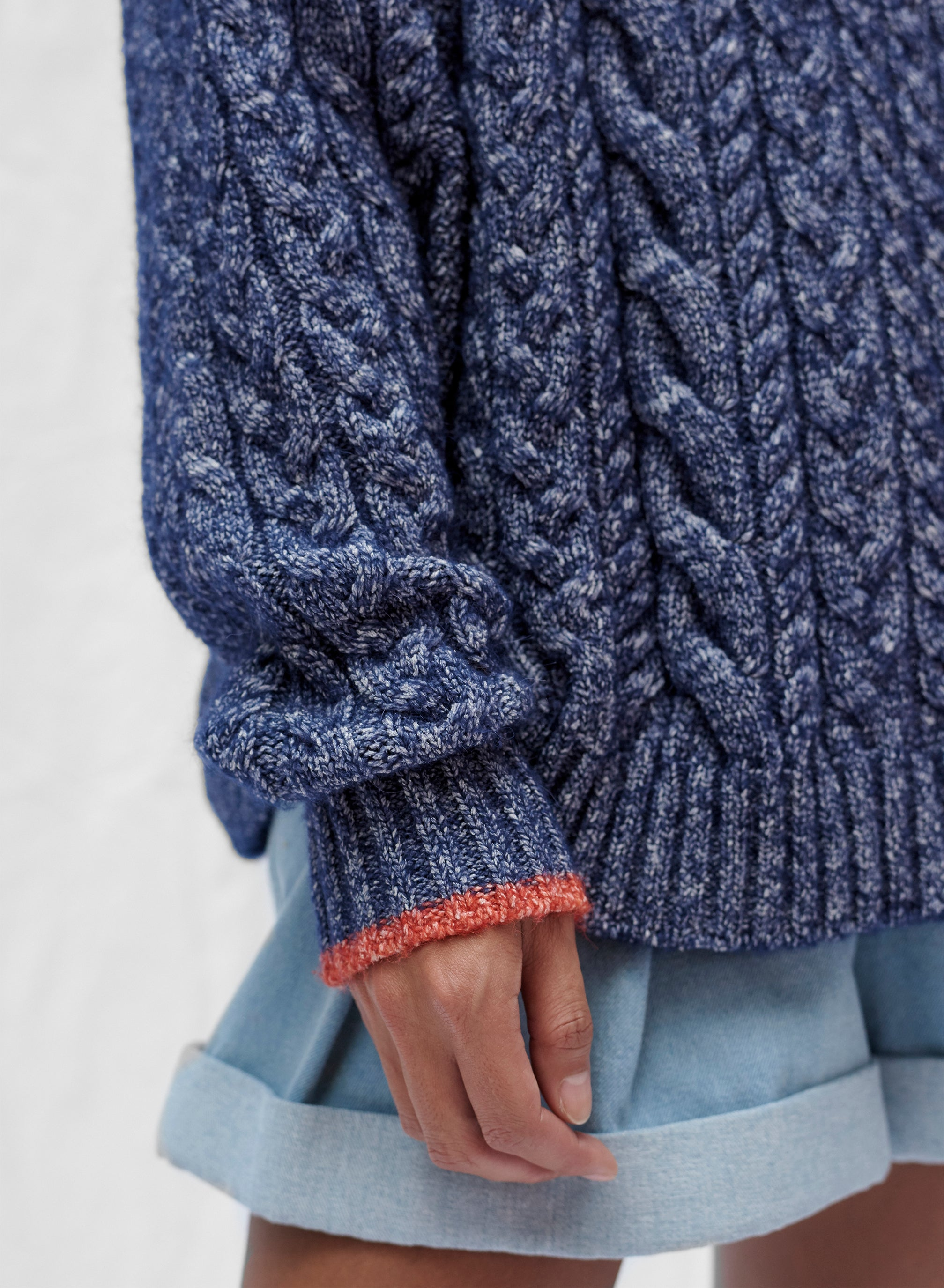 claudia li fall winter 2019 oversized cable knit sweater blue melange made in Italy