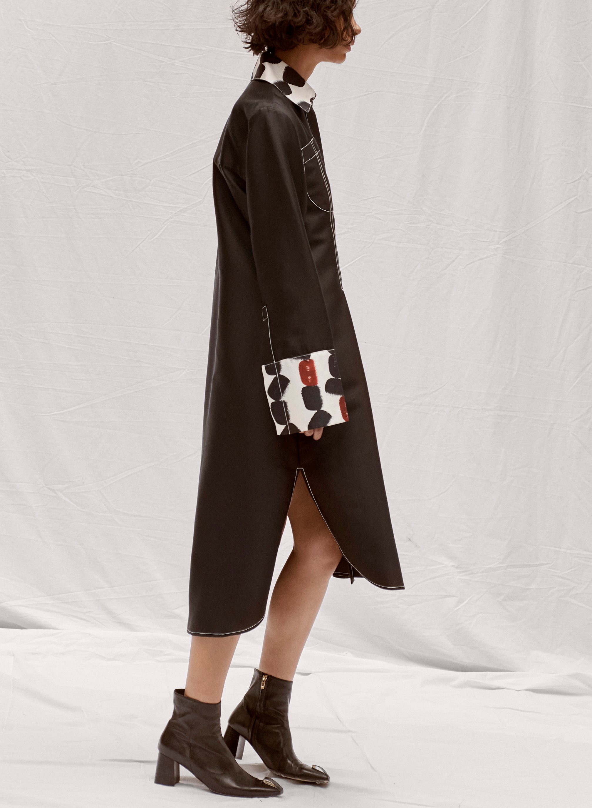 claudia li fall winter 2019 pintuck black and print shirt dress with top stitch