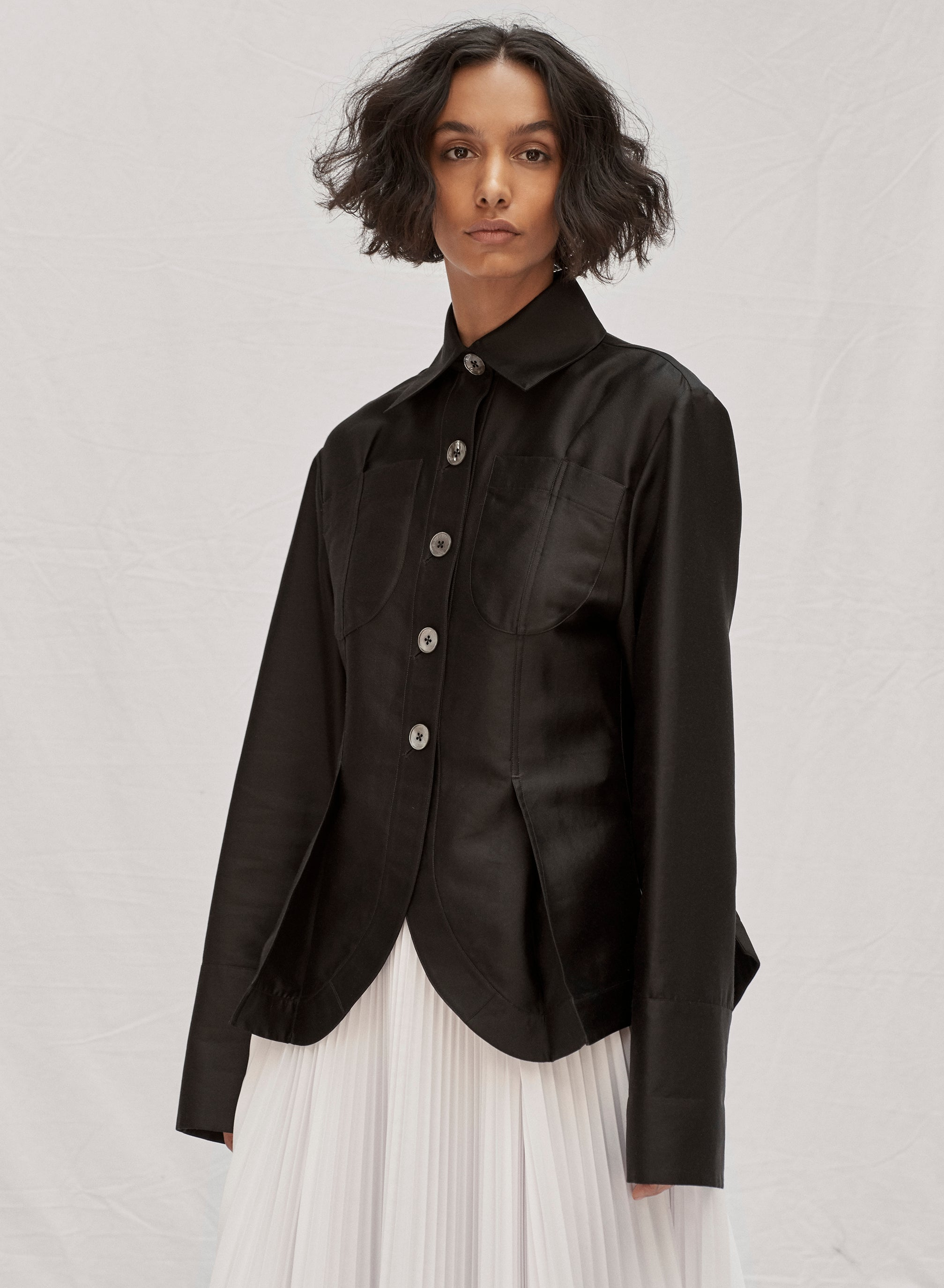 claudia li fall winter 2019 pintuck tailored relaxed fit shirt
