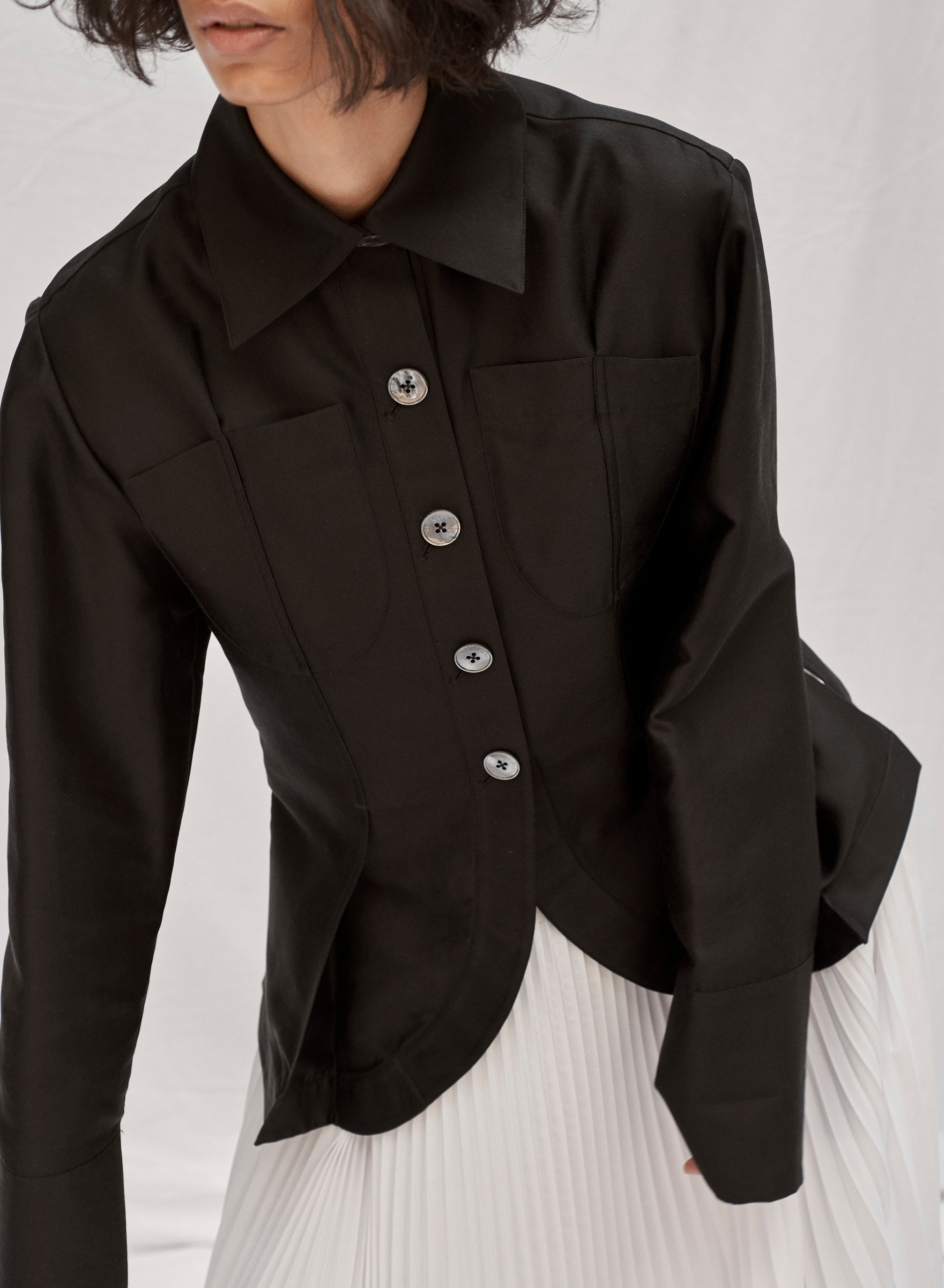 claudia li fall winter 2019 pintuck tailored relaxed fit shirt kendall jenner style