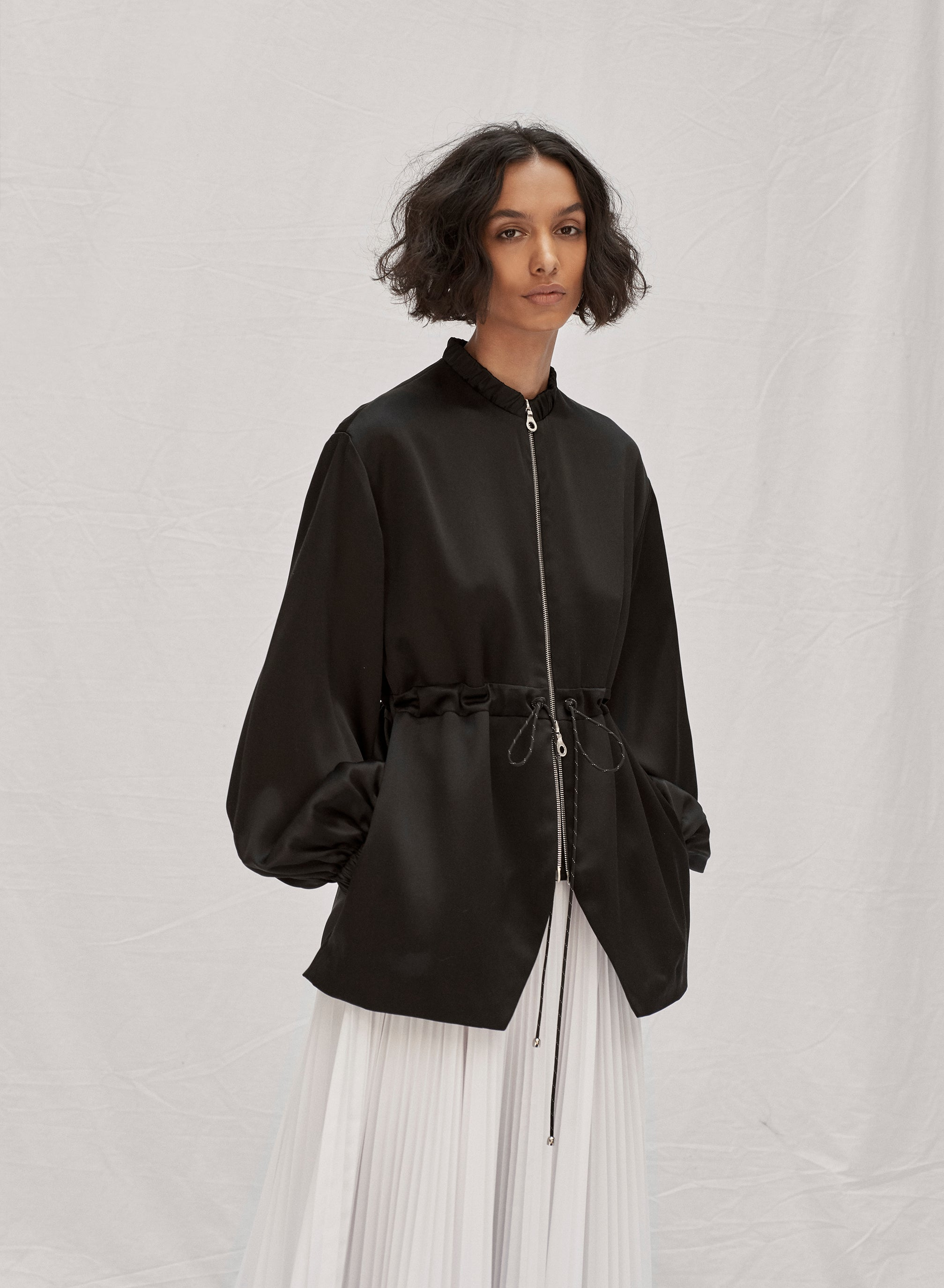 claudia li pre fall winter 2019 black silk drawstring bomber jacket