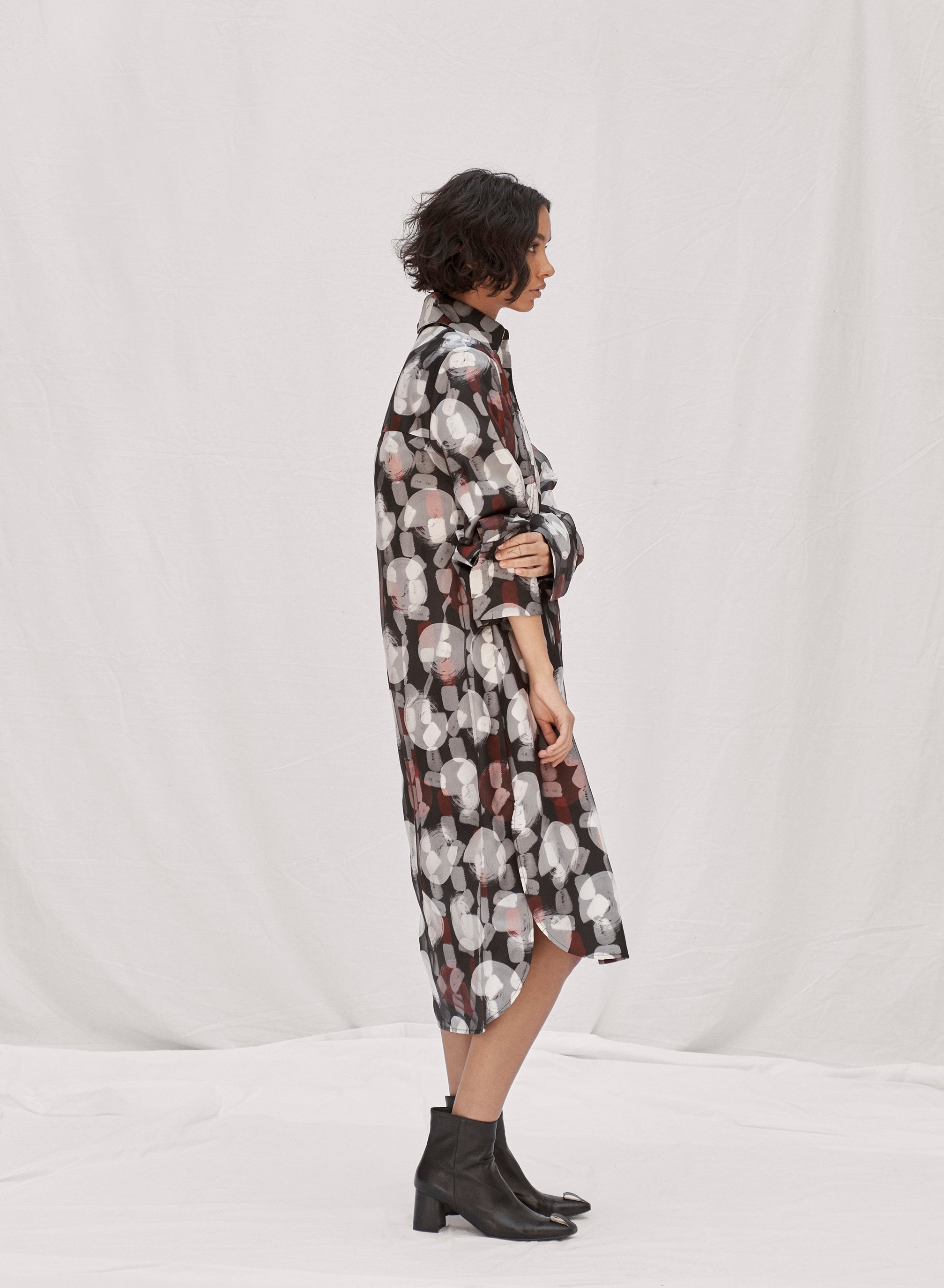 claudia li pre fall winter 2019 pintuck tailored relaxed fit layered print shirt dress
