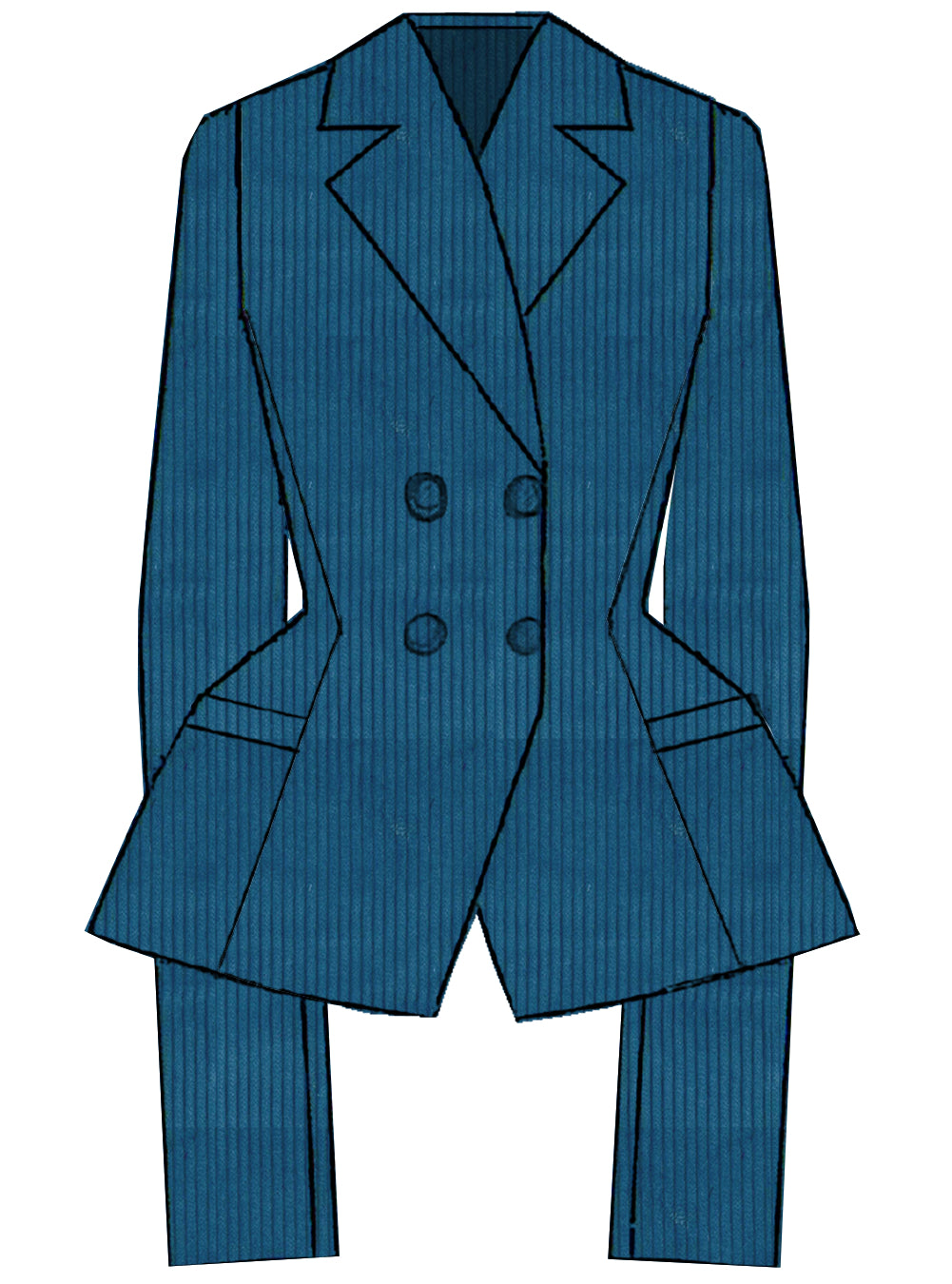 Tailored Blazer in Aquarius Big Corduroy