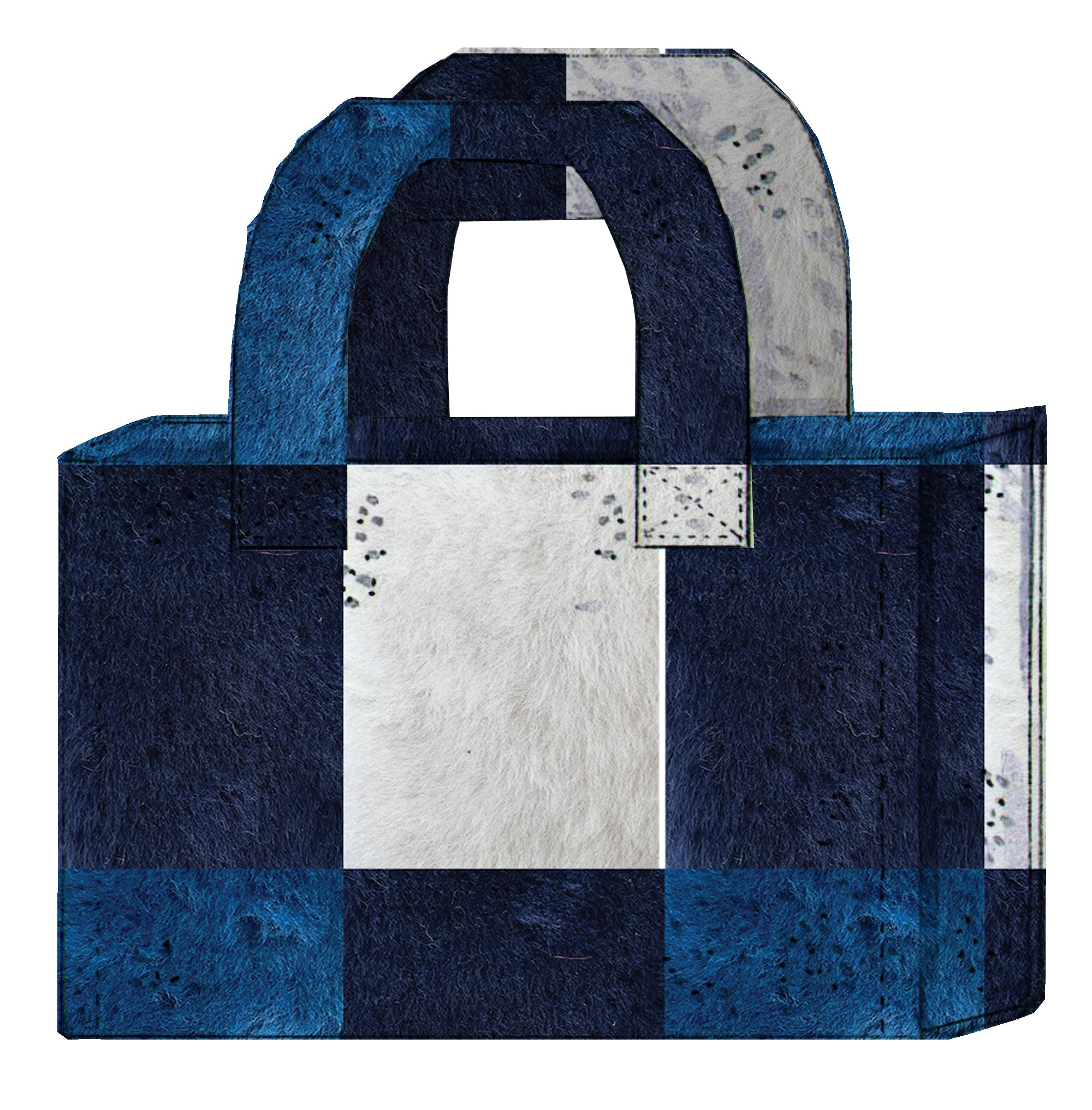 PATCHWORK FRENCH MERINO SHEARLING TOTE BAGS
