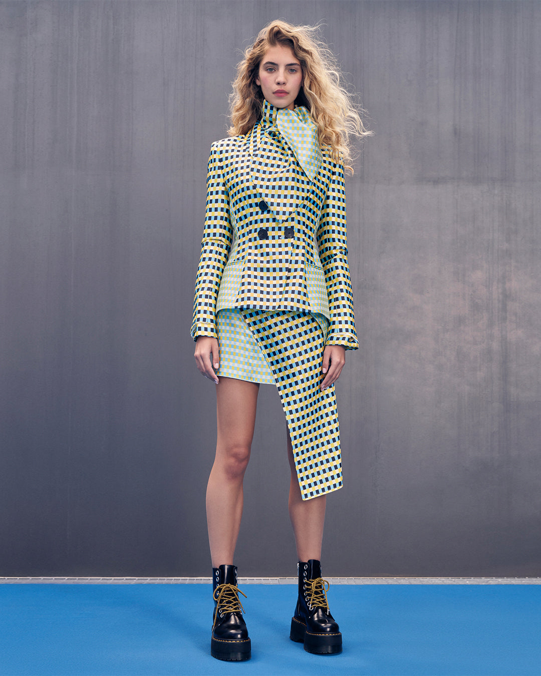 ASYMMETRICAL MINI SKIRT in Multi Checkers Silk Wool Suiting