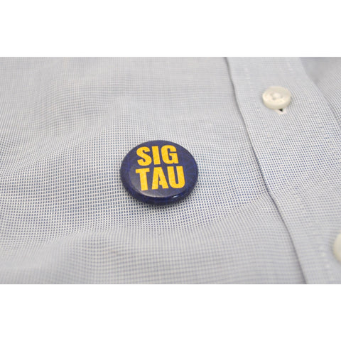 "1"" Sig Tau Yellow on Blue Button"