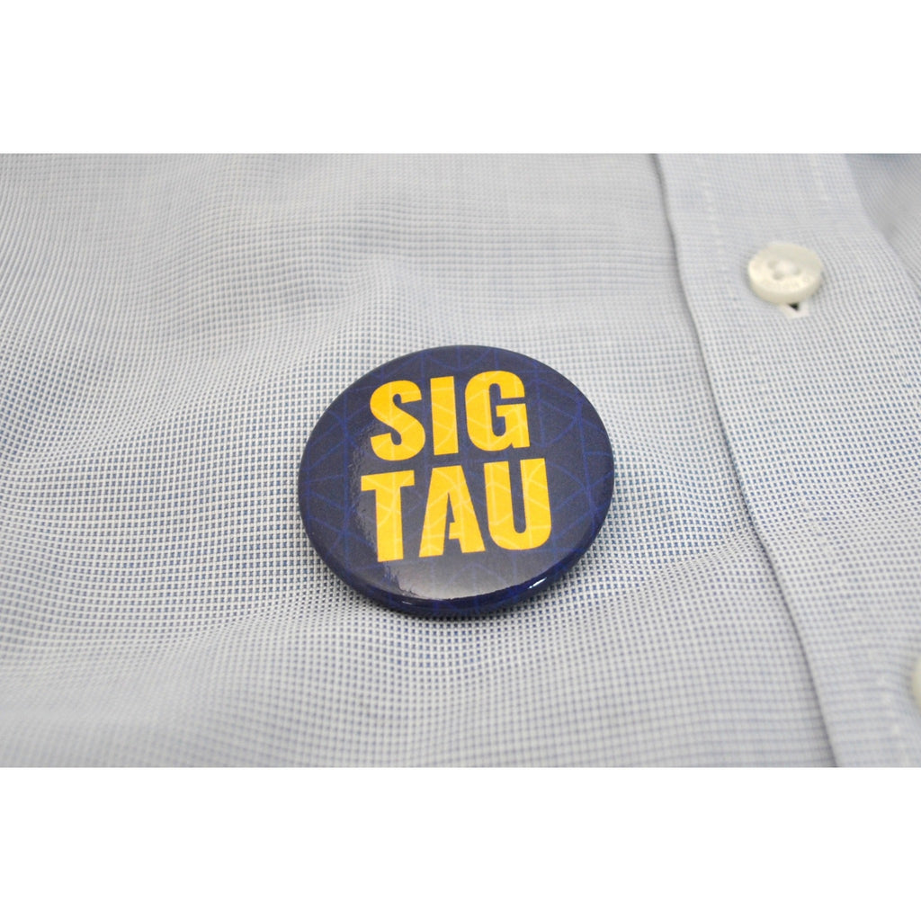 "1.5"" Sig Tau Yellow on Blue Button"