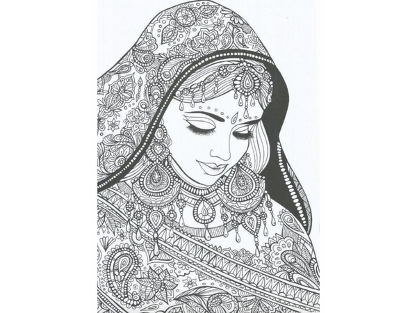 paisley girl woman printable coloring page for adults