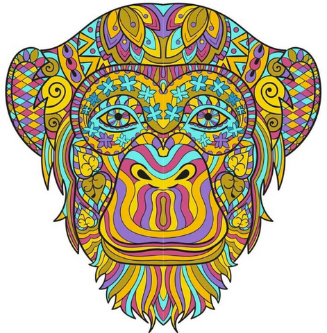 Adult Coloring Page - Monkey Design